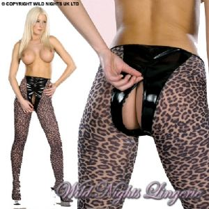Leopard Tights With PVC ZIP UP PANTY
